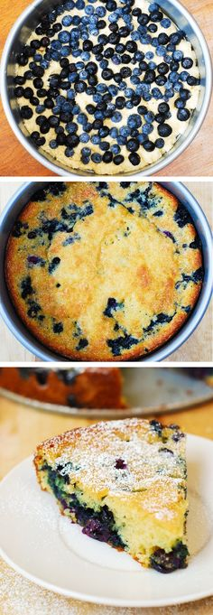 Delicious, light and fluffy Blueberry Greek Yogurt Cake made in a springform baking pan. Greek yogurt gives a richer texture to the batter! #Cake #Blueberry #Lemon #Yogurt