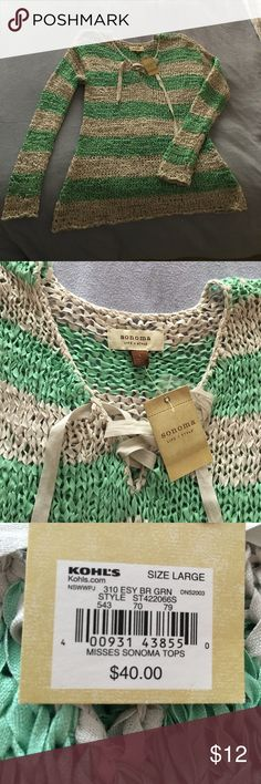 NWT Sonoma pullover v neck sweater Brand new and so cute!  Size large.  Perfect condition.  Smoke free home.  Thanks for looking at my closet :) Sonoma Sweaters V-Necks