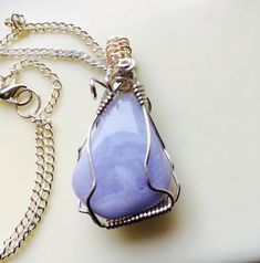 Blue Lace Agate Pendant,  Pale Blue Necklace