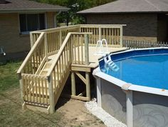 Above Ground Pool Deck Framing Plans - Pool Ideas 2019 Above Ground Pool Landscaping, Small Backyard Pools, Backyard Pool Landscaping, Backyard Pool Designs, Small Pools, Small Patio, Small Decks, Small Backyards, Pool Fence