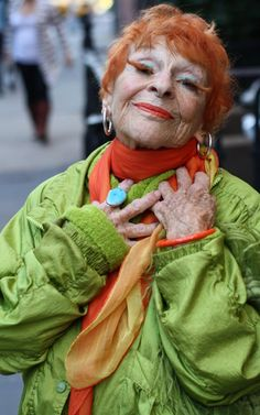Ilona Smithkin, 90 year old artist, with false eyelashes made from her own hair she made herself.  What a lady.