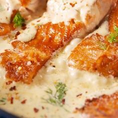 Lemon Garlic Salmon - Dill's bright flavor is perfect for this creamy sauce. But if you're not a big fan, we recommen -Creamy Lemon Garlic Salmon - Dill's bright flavor is perfect for this creamy sauce. But if you're not a big fan, we recommen - Salmon Dishes, Fish Dishes, Seafood Dishes, Seafood Recipes, Chicken Recipes, Cooking Recipes, Healthy Recipes, Seafood Meals, Seafood Bake