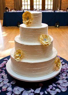 Amy Beck Cake Design - Chicago, IL - 4 Tier buttercream wedding cake with yellow sugar flowers - #amybeckcakedesign