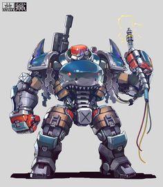 ArtStation - 2016 old Yulin Li Character Concept, Character Art, Character Design, Gundam, Armadura Medieval, 3d Mesh, Robot Concept Art, Robot Design, Steampunk