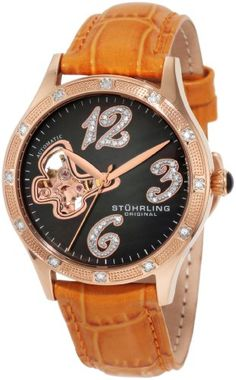 Stuhrling Original Women's 196.1245F27 Vogue Audrey Diamond Butterfly Automatic Skeleton Leather Strap Watch ** To view further for this item, visit the image link.
