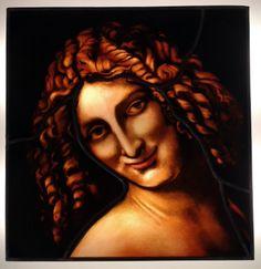 św. Jan kopia Leonarda da Vinci. Witraż wykonany klasyczną techniką. www.bzikstudio.com