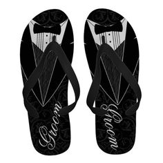 Black Tux Groom Tuxedo Flip-Flops #groom #beachwedding #tuxedo