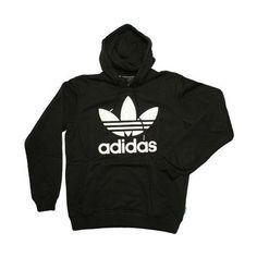 Adidas Originals Trefoil Hoody - Black-White, Adidas Originals Hoody ($62) ❤ liked on Polyvore