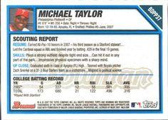 2007 Bowman Draft Picks & Prospects - Draft Picks Gold #BDPP37 Michael Taylor Back
