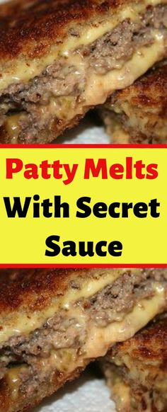 Patty Melts With Secret Sauce pounds ground beef 2 teaspoons Worcestershire sauce 1 teaspoon kosher salt ½ teaspoon ground black pepper 12 slices sourdough bread ½ cup Secret Sauce 3 medium Vidalia onions, thinly sliced 6 slices Cheddar cheese 8 table Soup And Sandwich, Sandwich Recipes, Meat Recipes, Cooking Recipes, Recipes With Hot Sauce, Grilled Hamburger Recipes, Hamburger Sauce, Sandwich Melts, Sandwich Bar