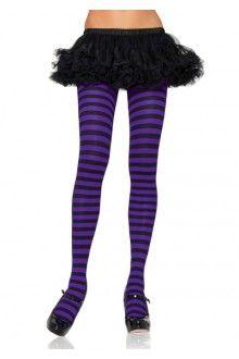 94dfef892436a Black Purple Striped Tights Hosiery Striped Tights, Black Tights, Opaque  Tights, Funky Tights