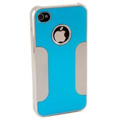 Premium Chrome Aluminum Skin Hard Back Case Cover for Apple iPhone 4 4G 4S SilverBlue