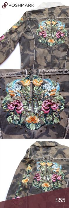 """Miss Me floral embroidered Camo jacket Miss Me floral embroidered Camo jacket. Some minor unstitched embroidery. In great condition. Armpit to armpit measures 20.5"""", length is 21"""". Miss Me Jackets & Coats"""
