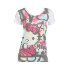 Hello Kitty Graffiti Tee - Teen Clothing by Wet Seal ($20) ❤ liked on Polyvore