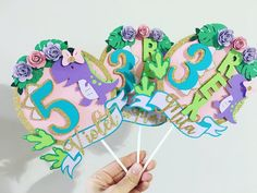3rd Birthday, Birthday Parties, Dinosaur Cake Toppers, Girl Dinosaur, The Perfect Touch, Peppa Pig, To My Daughter, Card Stock, Third