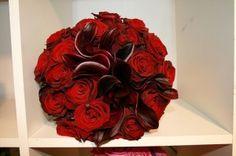 Red calla lily flower wedding bouquet