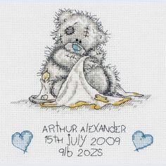 Birth Sampler - Tatty Teddy - Teddy Hugs - counted cross stitch kit Coats Crafts