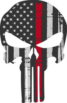 Thin Red Line Punisher USA Flag Exterior Window decal - 3 Sizes Free Shipping #3M