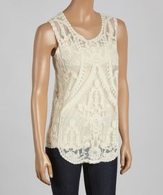 Look at this Natural Sheer Lace Tank - Women on #zulily today!