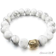 Armband Mala goldener BUDDA Howlith Perlen weiß / grau...