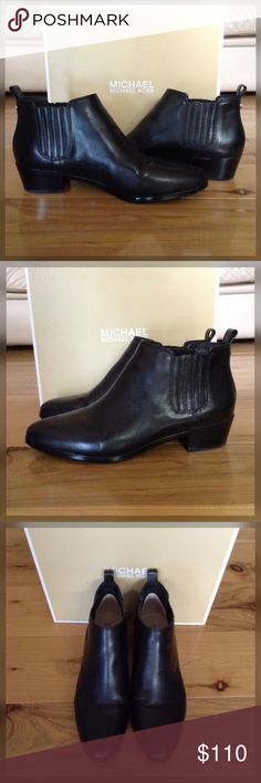 Michael Kors Black Shaw Bootie. Black leather ankle bootie by Michael Kors. Size 7.5. NIB. Worn around the house. Michael Kors Shoes Ankle Boots & Booties