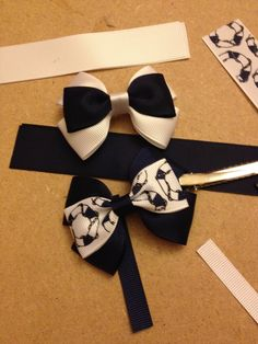 Navy blue and white ribbon hairbows, matching set of school hair clips…