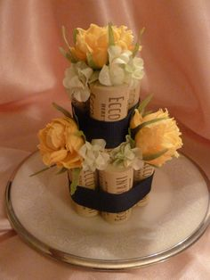 Navy Buttercup Corked Cake by TheBeadedCork on Etsy, $13.95
