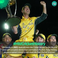 #HWCricketHistory On this day in 2003, Australia won their 2nd World Cup in a row! #INDvAUS #AUS #cricket