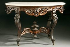c1850 Roccoco center table, Stanton Hall ptn, J&JW Meeks, NYC, lmntd rswd, 46t, 8-