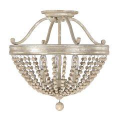 """Three Light Semi-Flush; Jaffee Lighting; 16""""H x 16.25""""Dia;Silver Quartz finish; 3 bulbs; 60w max; $290"""