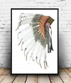 Native American Headdress, Printable Art, Tribal Print, Indian Headdress, Art Print, Wall art, Wall Decor, Instant download