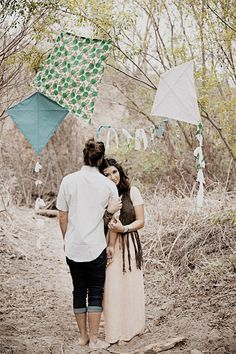 Bohemian inspired engagement portrait with kite decor | Wedding & Party Ideas | 100 Layer Cake