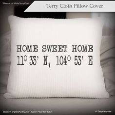 Home Sweet Home longitude and latitude pillow by iXiDesign on Etsy