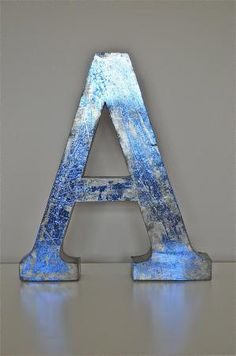 A large 14 inch 3 dimensional blue metal letter A Metal Letters, Letters And Numbers, Knobs And Knockers, Metallic Blue, Love People, Signs, Dorm Decorations, Bookends, Lettering
