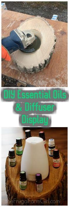 DIY Wood Log Essential Oils Holder & Diffuser via Diy Essential Oil Diffuser, Essential Oil Holder, Essential Oil Shelf, Essential Oil Blends, Essential Oils, Diffuser Diy, Diy Storage Rack, Craft Storage Box, Oil Storage