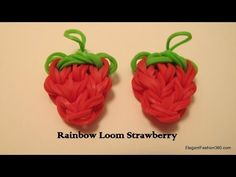STRAWBERRY charm by Elegant Fashion 360 on Rainbow Loom - YouTube