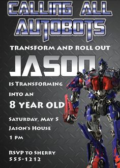 Hey, look at  this really awesome Etsy listing at https://www.etsy.com/listing/177613233/transformers-birthday-invitation