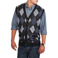 Men's Cardigan Pocket Argyle Sweater Vest, Size: Medium