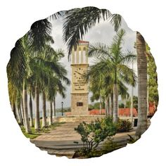 Eliza James McBean Clock Tower Virgin Islands Round Pillow for your home decor .... bring the Caribbean home..