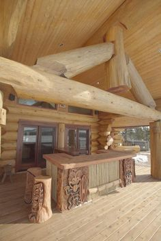 Ken Auchinleck's square foot home contains four bedrooms and three and a half bathrooms. Cabins In The Woods, House In The Woods, Little Log Cabin, How To Build A Log Cabin, Half Bathrooms, Wooden Architecture, Barn House Plans, Timber House, Log Cabin Homes