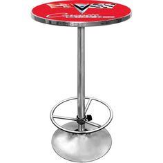 Trademark Corvette C2 42 inch Pub Table, Chrome/Red, Multicolor