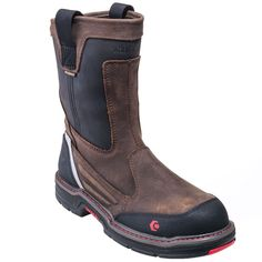 Wolverine Boots: Men's 10488 Brown Waterproof Composite Toe EH Pull-On Boots…