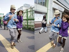 "Dutch photographers Thijs groot Wassink and Ruben Lundgren work together on photo projects as a duo known as WassinkLundgren. One of their collaborations is a set of street photographs shot on the sidewalks of Tokyo, Japan. Each is a diptych showing the same ""decisive moment"" shot by both photographers at the same moment, then arranged side by side. Thus, we are given two views of the same moment from different perspectives, something generally unseen in street photography."