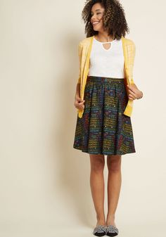 Lively Vibe Cotton A-Line Skirt in Periodic Table | ModCloth