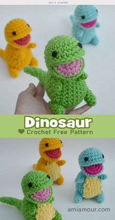 Dinosaur Amigurumi Free Crochet Pattern - - Dinosaur Amigurumi Free Crochet Pattern is a great project to crochet tiny and happy dinosaurs babies. They will be the best gifts for your kids. Crochet Dinosaur Patterns, Crochet Patterns Amigurumi, Crochet Dolls, Crochet Yarn, Crochet Dinosaur Hat, Crochet Dragon Pattern, Crochet Applique Patterns Free, Dinosaur Dinosaur, Cat Amigurumi
