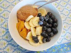 Pumpkin, banana, blue berries and nut butter.