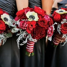 Ceremony. Flowers. Red Bridesmaid Bouquets. Similar colors, different flowers.