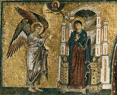 TORRITI, Jacopo Apse mosaic, window level: 1. Annunciation 1296 (completed) Mosaic Santa Maria Maggiore, Rome