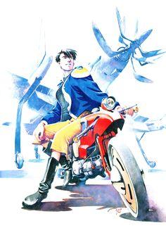 貞本義行画集|ALPHA王立宇宙軍 オネアミスの翼『Just Lookin' Good』 貞本 - このイラストも後日談的なもので、日常を取り戻したシロツグが、初めて空に舞った思い出の空軍基地にバイクで乗り付けた、といったところでしょうか。