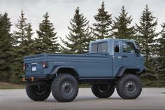 Mighty FC, inspired not by the Mercedes-Benz Unimog, as some might think, but by the Jeep Forward Control that was built from 1956 to 1965.    The modern day 'Forward Control' is loosely based on the Wrangler Rubicon with Jeep repositioning the cabin over and ahead of the front axle and lengthening the wheelbase. It also added a custom built drop-side cargo box, while the Wrangle-based interior has been enhanced with heavy-duty Katzkin leather and a unique color scheme.